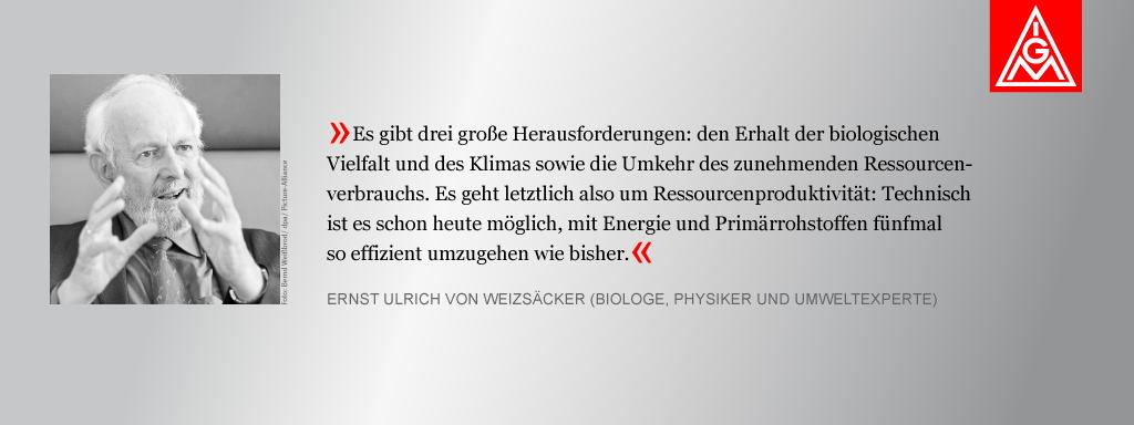 Bild von Ernst Ulrich von Weizaecker mit Zitat