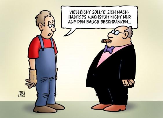 Nachhaltiges Wachstum. Karikatur: Harm Bengen
